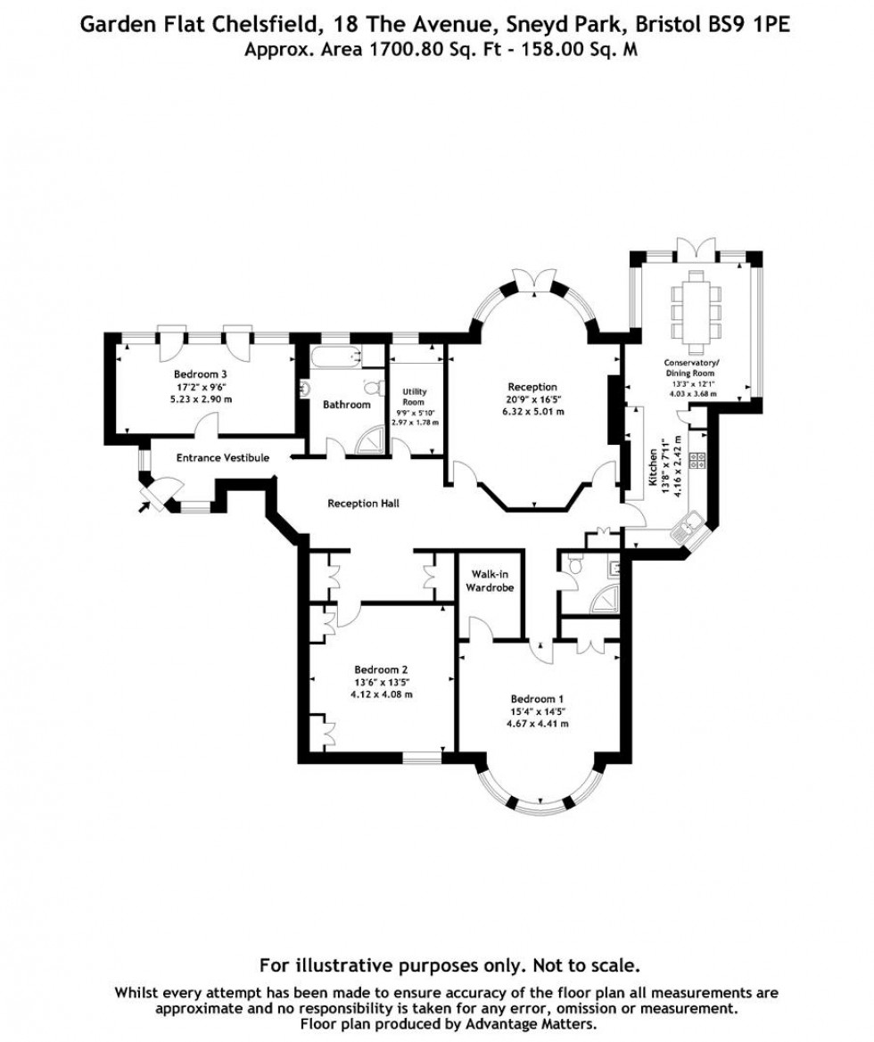 Floorplan for The Avenue, Sneyd Park, Bristol