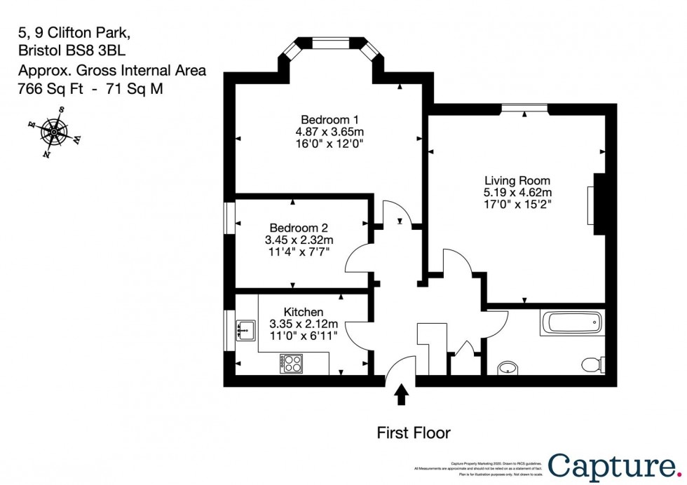 Floorplan for Clifton Park, Clifton, Bristol