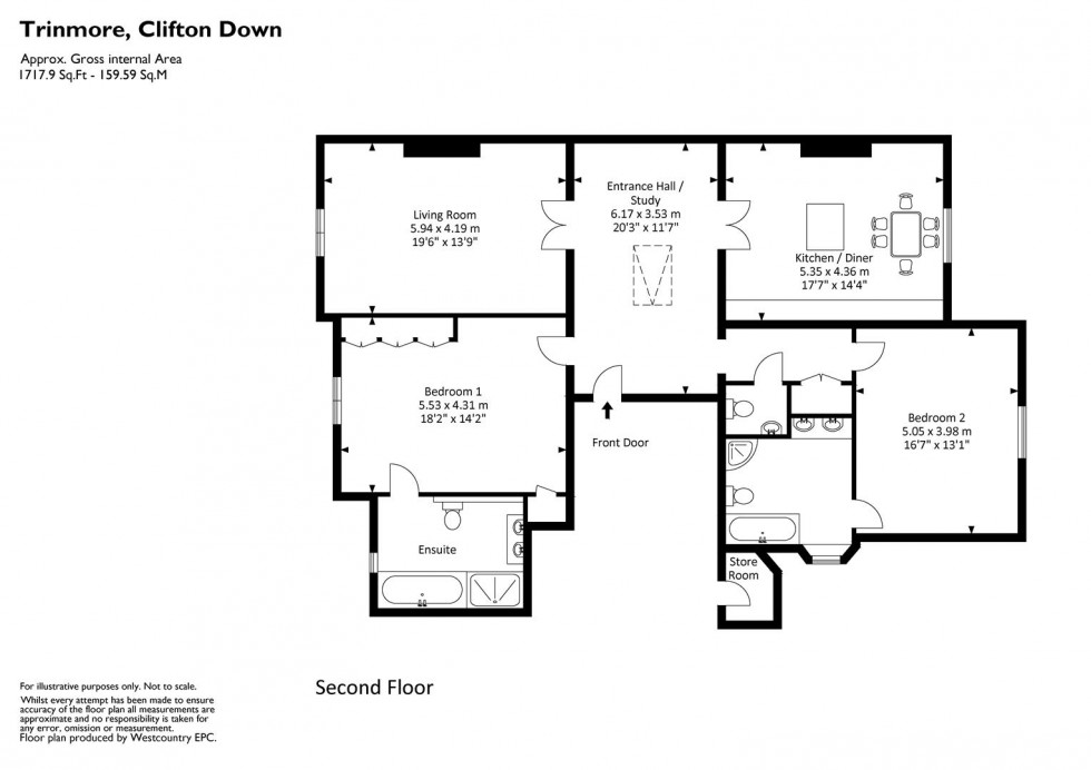 Floorplan for Clifton Down, Clifton, Bristol